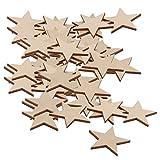 SONONIA 50個入り DIY クラフト 素材 3mm厚 星型 スター型 木製 木片 外径50mm
