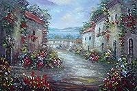 """油彩画24"""" x36の""""地中海Street Old Houses with Flowers印象派、BeyondDreamアート"""