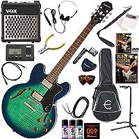 EPIPHONE エレキギター 初心者 入門 ギブソンES-335のエピフォン版 リズム機能とエフェクターを搭載したVOX MINI5RMが入ってる充実20点セット Dot Deluxe/AM(アクアマリン)
