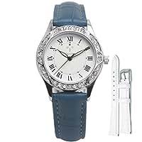 YOSIMI ネイビーブルーの革の女性のファッションはシルバーダイヤモンドクォーツ時計の個性を腕時計