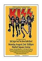 Raw Sugar Art Studio Kiss/Bob Seger 1976 インディアナポリス コンサートポスター