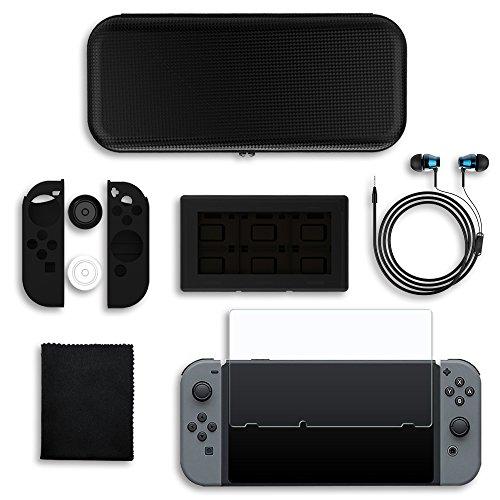 J-KONKY Nintendo Switch ケース アクセサリー 6IN1 スイッチ 保護フィルム JoyConカバー カードケース イヤホン&専用収納ポーチ