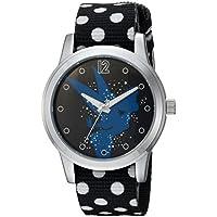 DISNEY Women's Tinker Bell Analog-Quartz Watch with Nylon Strap, Black, 18 (Model: WDS000348)