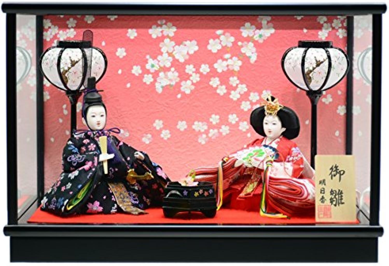 雛人形 ケース飾り 若草B コンパクト親王飾り (黒)