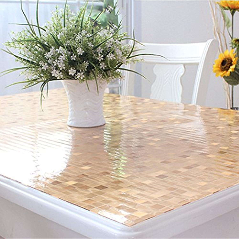 テーブルクロス 柔らかいガラスのPVCテーブルクロス防水抗スケーリング台湾の結晶テーブル透明なコーヒーテーブル (Color : E, Size : 70x140cm)