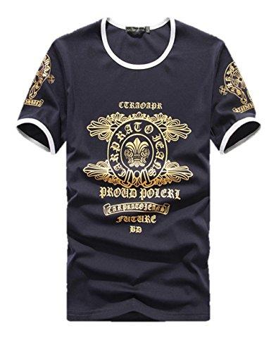 メンズ トップス Tシャツ 3色 半袖 ラウンドネック クルーネック ゴールドラメ ロゴ アルファベット エンブレム  フロントプリント ニット生地 ストリート カジュアル クマのぬいぐるみ付き K5104 (2XL, ブラック)