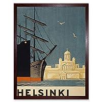 Finland Helsinki Cathedral Ships Art Print Framed Wall Decor 9X7 Inch フィンランド大聖堂船壁デコ