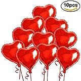 ROSENICE アルミ風船 バレンタインの日の結婚式の装飾のためのロープと赤いハート バルーン 10 箔ヘリウム風船