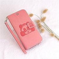 HDTech iPhone6/6S ケース カバー 手帳型 財布型 おしゃれ パンダ 図柄 様式 カード入れ 財布カバー マグネット開閉式 スタンド機能 耐衝撃 防塵 耐久性 装着やすい 吸着の機能 ケース カバー (iPhone6/6S, ピンク)