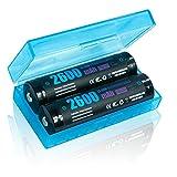 【2本セット】ROKKES 18650 電池 バッテリー 2600mAh 3.7V 充電式リチウムイオン電池 陽極PCB回路 付属電池ケース 戦術懐中電灯電池 (SEIKO製PCB回路搭載)
