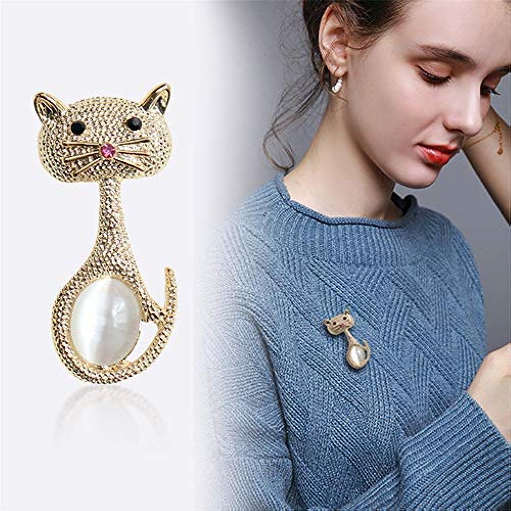 雰囲気起業家曲げる生地と花石鹸の花 男性と女性のための人工オパールBoutonniere小さなピンとかわいいかわいい猫のブローチ