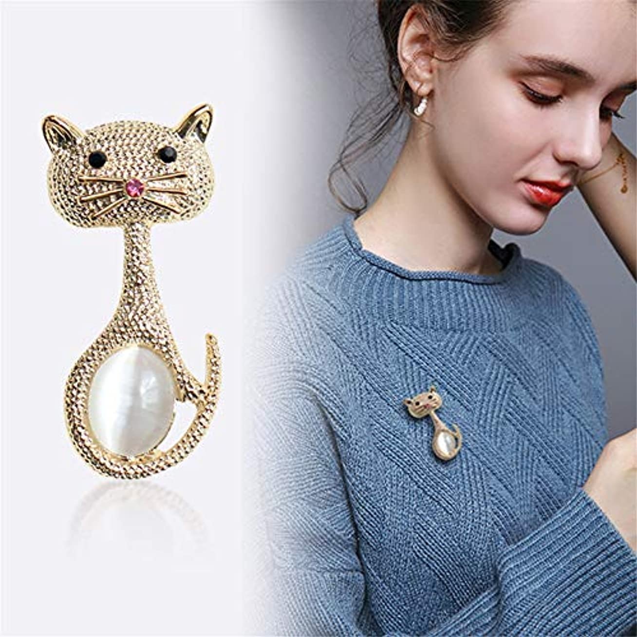 アメリカ大学生減衰生地と花石鹸の花 男性と女性のための人工オパールBoutonniere小さなピンとかわいいかわいい猫のブローチ
