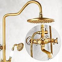 Peacefre イミテーション古代黒のシャワーセットヨーロッパスタイルのシャワーノズルセットフル銅の蛇口シャワー装置 (設計 : A)
