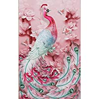 Trendyest カラービーズストーン画 ダイヤモンド塗装 ダイヤモンド絵画 孔雀 花 ピンク フルダイヤモンド 5D ホーム DIY ハンドメイキング 樹脂 部屋飾り 装飾