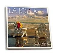 La Jolla、カリフォルニア–アディロンダック椅子on the beach 4 Coaster Set LANT-53271-CT