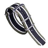 20ミリメートル緑/白/黒のプレミアムユニークな多色NATOスタイル頑丈なソフトナイロンメンズ腕時計バンド