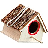 HOMYL Wooden Wood Hanging Free Standing Bird House Nesting Box Feeder - Natural, 15 x 16x 17.5cm