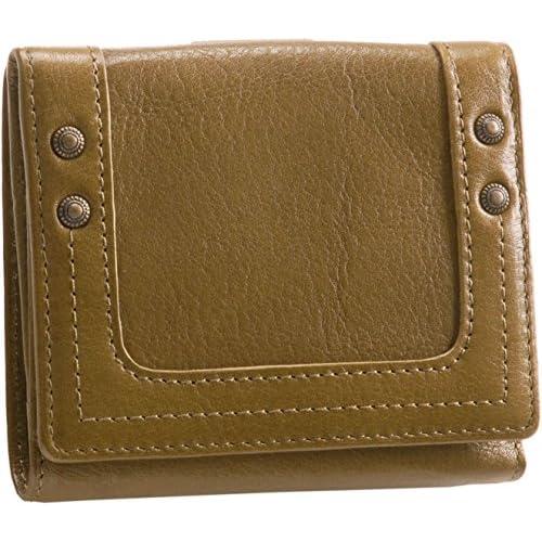 牛革 折り財布 ボックス型小銭入れ付き レディース 本革 レザー アンティークオリーブ
