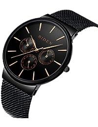 時計、メンズ腕時計、ステンレススチールブラッククラシックラグジュアリービジネスカジュアルウォータープルーフ防水マルチ機能クォーツミラネアメッシュバンド腕時計