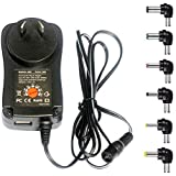 MeetUs 30W Universal 100v-220V Charger Adapter Switching Power Supply with 6 Selectable Adapter Tips & Micro USB Plug, Suitable for 3V 4.5V 5V 6V 9V 12V Household Electronics and LED Strip