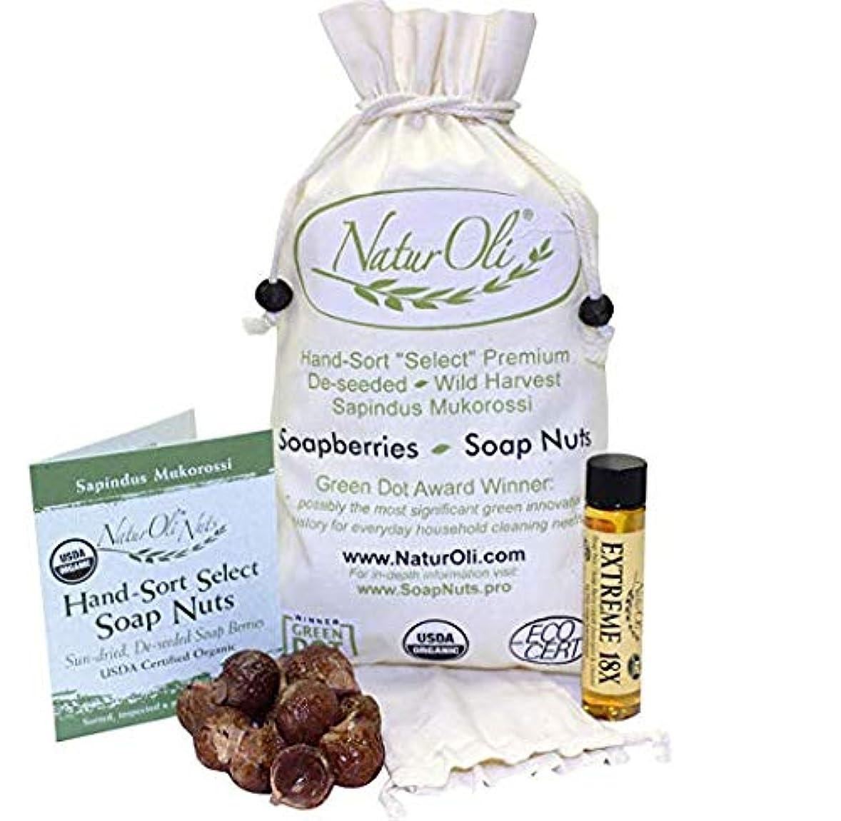 類推無効卒業NaturOli, Organic, Hand-Sort Select Soap Nuts With 2 Muslin Drawstring Bags, 16 oz