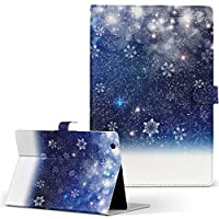 igcase Lenovo Tab4 10 レノボ ZA2J0039JP wifiモデル タブレット 手帳型 タブレットケース タブレットカバー カバー レザー ケース 手帳タイプ フリップ ダイアリー 二つ折り 直接貼り付けタイプ 012825 空 夜空 雪