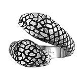 Rockyu 人気 ブランド リング ステンレス アイティーク ブラック マヤ メンズリング レディースリング クラシック スネーク 蛇 毒蛇 ステンレス 男性指輪 (18)