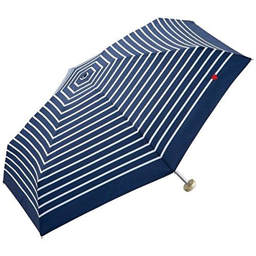 WPC ハート刺繍ボーダー折りたたみ傘【ネイビー/**】