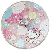 ハローキティ 壁掛け時計 和柄ガラスクロック アナログ 置き掛け兼用 日本製 ピンク HKY-5639-PKA