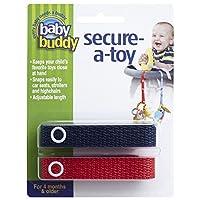Baby Buddy ベビー バディ Secure-A-Toy 2ct おもちゃストラップ2色各1本組 【アメリカ製】 Navy&Red ネイビー&レッド