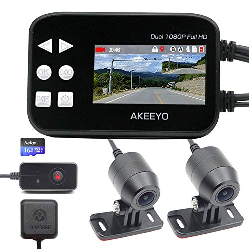 AKEEYO オートバイ専用 GPS搭載 ドライブレコーダー 16GBカード同梱 日本全国LED信号機対応 Sony IMX323 200万画素 140°超広角 前後1920×1080P 同時録画 防水カメラ 2.7インチモニター G-Sensor WDR エンジン連動 ループ録画 日本語マニュアル_AKY-868G