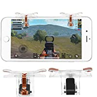 荒野行動 コントローラー 射撃ボタン 押し式ゲームパッド スマホ用 iPhone/Android対応 高耐久 透明・黒 片足 視線を邪魔しない 2枚セット (片足, 透明)