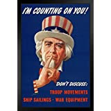 proframes WPA War Propaganda UNCLE SAM Im Counting On Youフレーム入りポスター12 x 18 18x12 inches