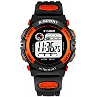Teen Girls Watch, Multifunction Digital Large Dial LED Alarm Date Waterproof Sports Military Wrist Watch Orange