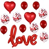 Toyvian 13pcs Love Balloons Heart Foil Balloon Latex Confetti Balloons for Birthday Wedding Valentine's Day Engagement Party Decorations (Red)
