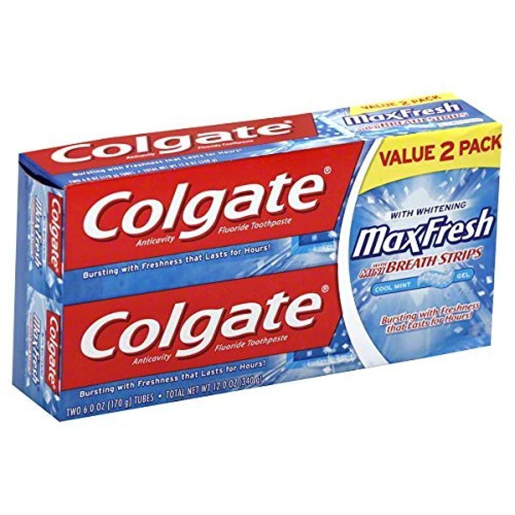 ピービッシュスローガンかろうじてColgate MaxFresh Fluoride Toothpaste 6 oz Twin Pack Cool Mint 2 ea [並行輸入品]