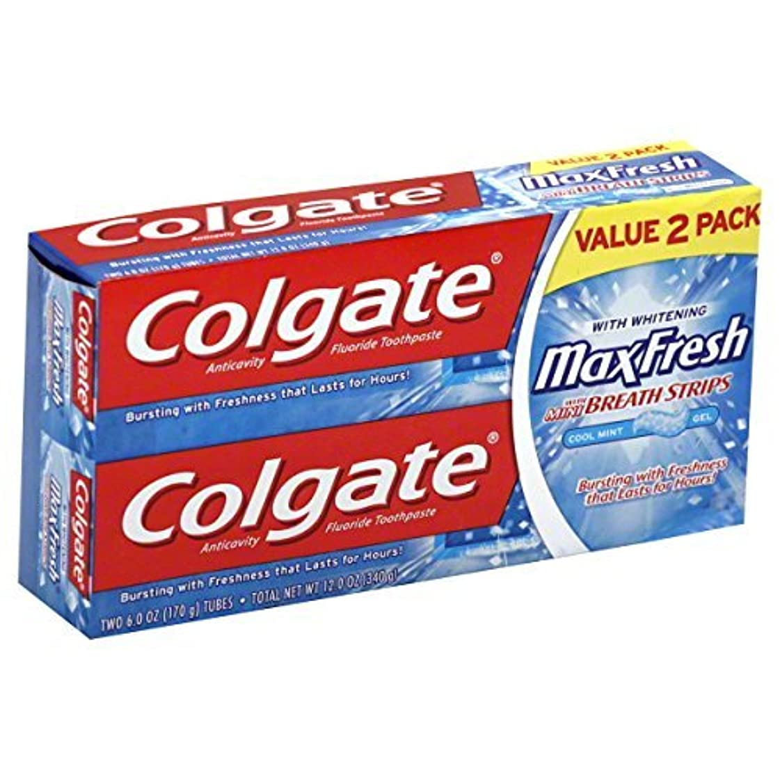 横に病気の奇妙なColgate MaxFresh Fluoride Toothpaste 6 oz Twin Pack Cool Mint 2 ea [並行輸入品]