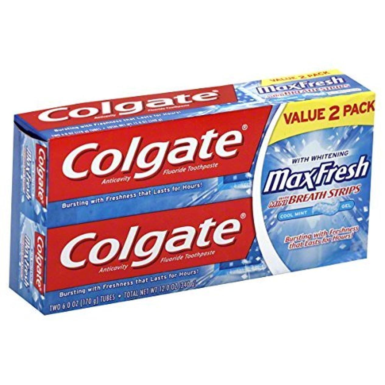 競争国家葉を集めるColgate MaxFresh Fluoride Toothpaste 6 oz Twin Pack Cool Mint 2 ea [並行輸入品]
