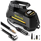 AstroAI Tire Inflator Portable Air Compressor Pump with Gauge, 12V DC Digital Car Air Pump 100PSI with LED Light, Larger Air Flow, Extra Nozzle Adaptors for Car, Bicycle, Motorcycle Ball Air Mattress