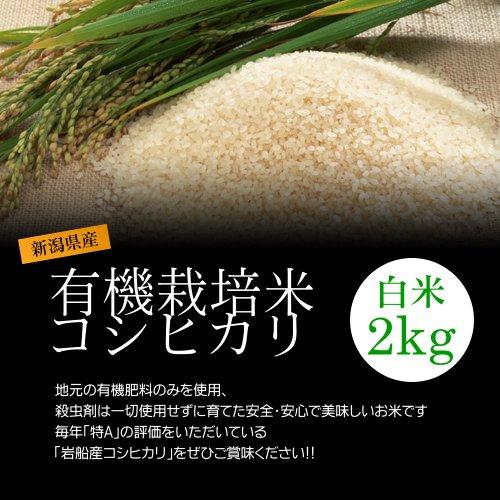 【お中元・夏ギフト】減農薬米コシヒカリ 白米(精米) 2kg/化学肥料ゼロで育てた新潟産有機米