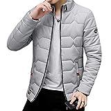 HAPPYJP メンズ 中綿ジャケット ダウンジャケット 中綿 綿入れ 無地 スリム ダウンコート ブルゾン 軽量 防風 防寒 冬服 ファッション 大きいサイズ カジュアル (4XL, グレー)