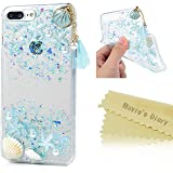 MAVIS'S DIARY iPhone 8 Plus ケース/iPhone 7 Plus ケース ストーン キラキラ TPU 海 夏っぽい フィット アイフォン7プラススマホケース ブルー かわいい 貝