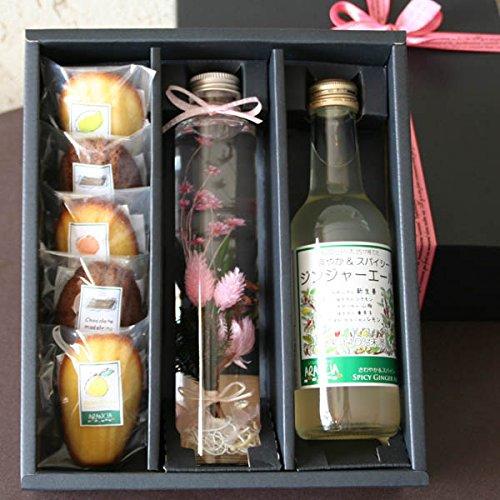 「ハーバリウム・スイーツギフトBOX・ピンク」標本風お花のアレンジメントとジュースとお菓子のギフト(シ...