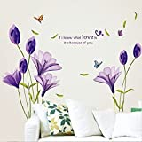 LiveGallery Beautiful Lovely Lily Flowers Wall Decals Removable DIY Butterfly Flower Vines art Decor Wall Stickers Murals for