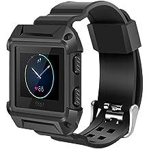 Fitbit Blaze Bands Large, iitee Shockproof Slim Protective Frame Case with Strap Bands for Fitbit Blaze Smart Fitness Watch (L, Black/Black)