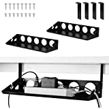 2 Packs Under Desk Cable Management Tray Organizer, 40cm Heavy Sheet Metal Cable Holder Under Table Wire System Management fo