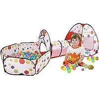 huanjianキッズプレイテントトンネル3 - in - 1屋内または屋外折りたたみ赤ちゃんクロール/テント/ Ball Pit forボーイズ/ガールズ赤ちゃん/幼児/、親子相互作用、適切な年齢0 – 6