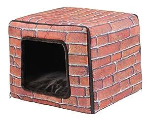PetStyle キューブハウス ペット ベッド 2WAY 犬 猫 ブリック レンガ模様 (Lサイズ)