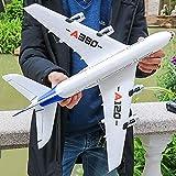 Ycco 6軸ジャイロ固定翼幅ライトバーDIY RC飛行機RTFリモートコントロールの安定性ジェッツおもちゃ初心者の子供のギフト用(ホワイト)付きRCドローンボーイングA380飛行機2.4G 3CH EPPフライングおもちゃ、航空機