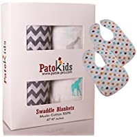 Ultra Soft & warm - Baby Muslin Swaddle Blankets 100% Hypoallergenic cotton XL 47x47 inches - 2 Pack + Free 2 baby bibs By PatoKids - Your Perfect Gift - Boys/Girls [並行輸入品]